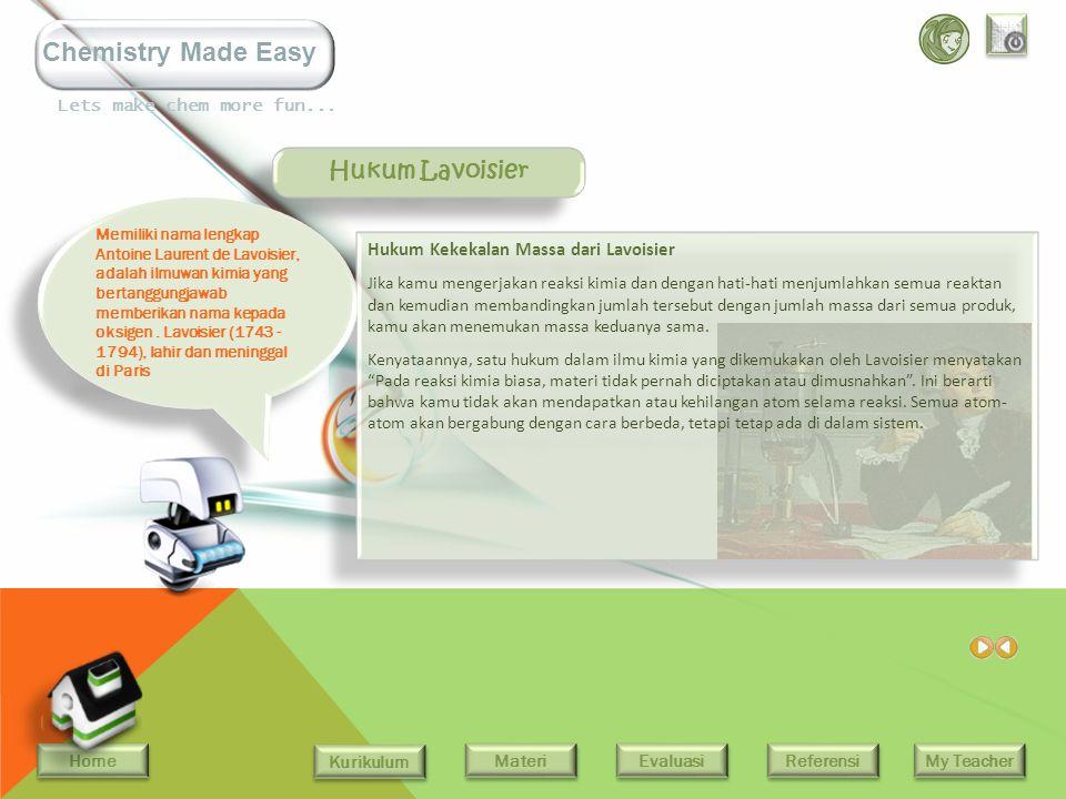 Hukum Lavoisier Hukum Kekekalan Massa dari Lavoisier