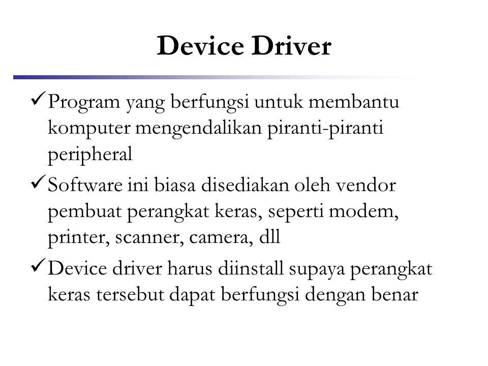 Device Driver Program yang berfungsi untuk membantu komputer mengendalikan piranti-piranti peripheral.