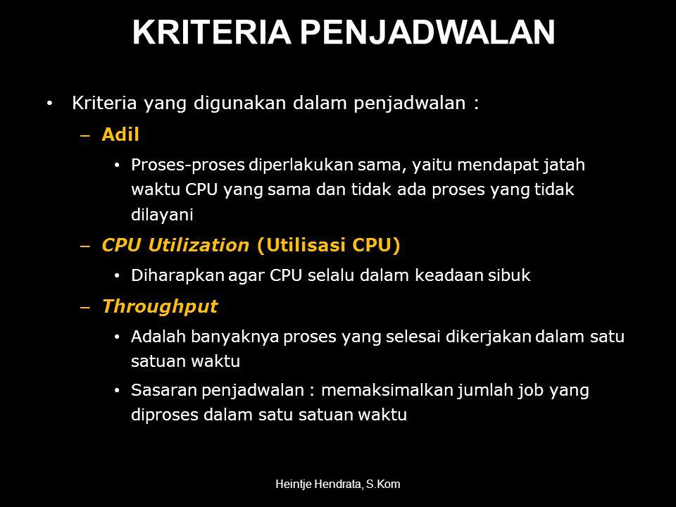 KRITERIA PENJADWALAN Kriteria yang digunakan dalam penjadwalan : Adil