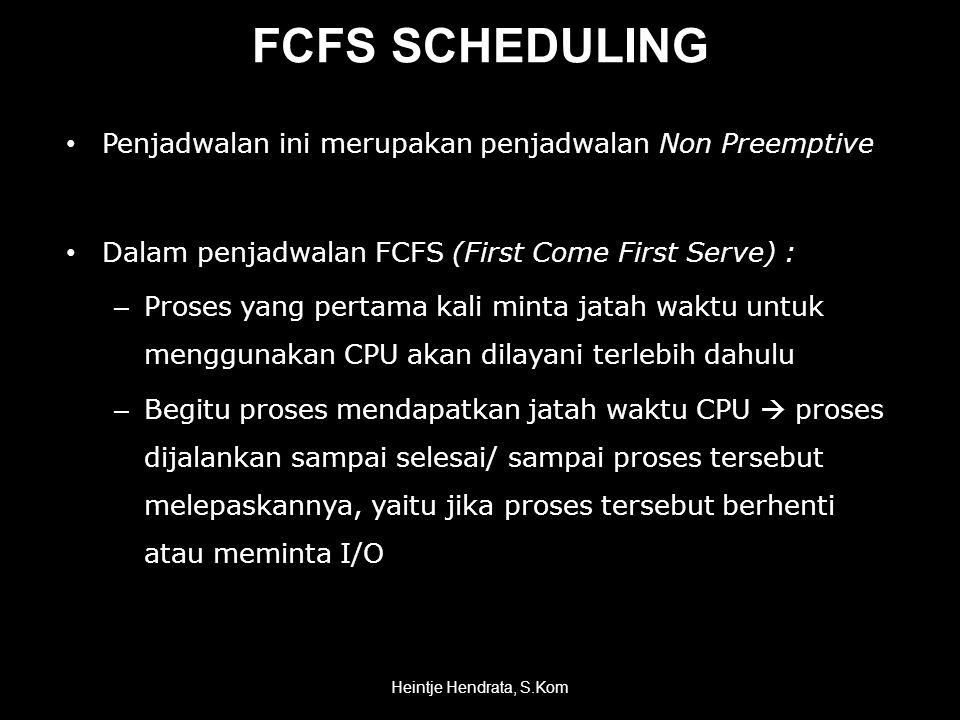 FCFS SCHEDULING Penjadwalan ini merupakan penjadwalan Non Preemptive