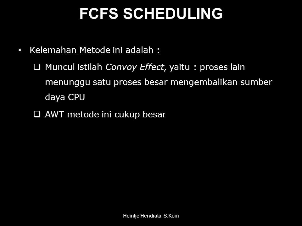 FCFS SCHEDULING Kelemahan Metode ini adalah :