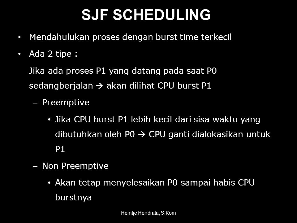 SJF SCHEDULING Mendahulukan proses dengan burst time terkecil