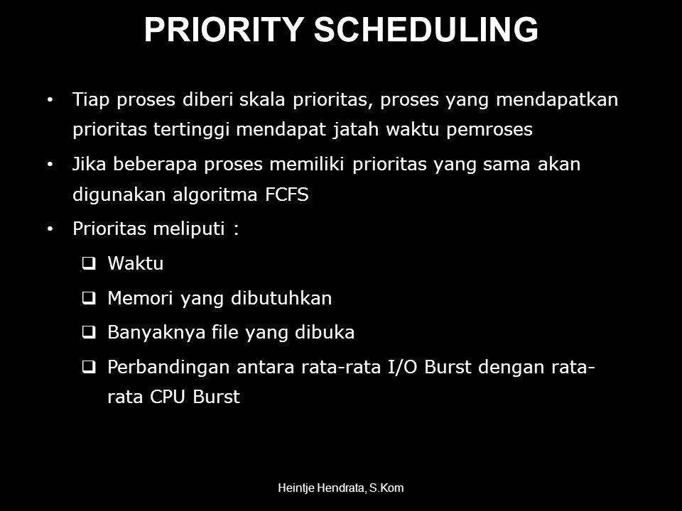 PRIORITY SCHEDULING Tiap proses diberi skala prioritas, proses yang mendapatkan prioritas tertinggi mendapat jatah waktu pemroses.