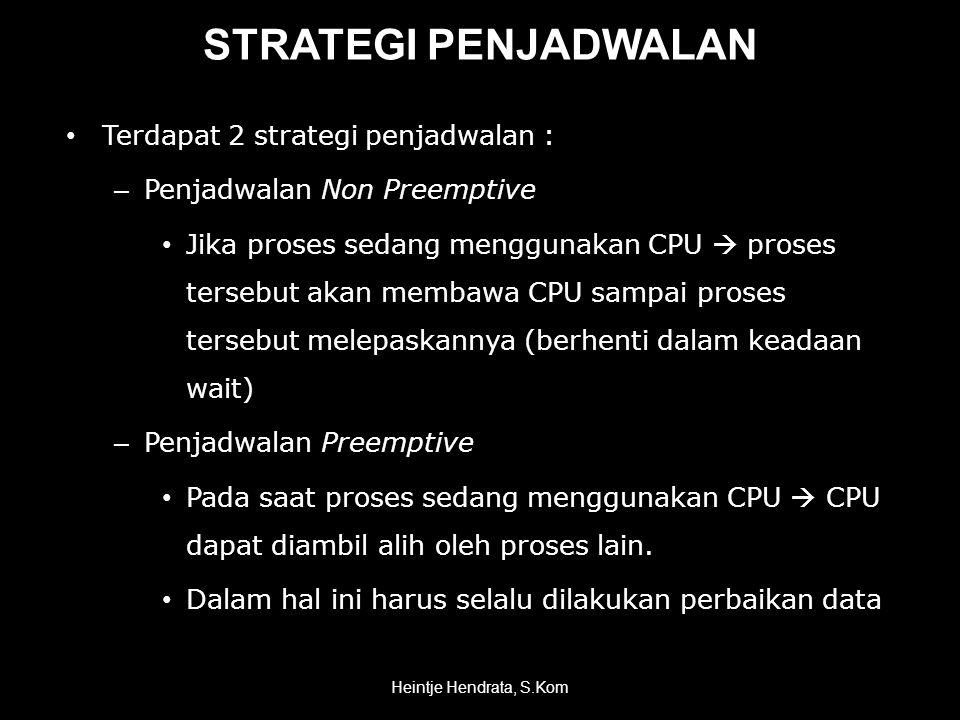 STRATEGI PENJADWALAN Terdapat 2 strategi penjadwalan :