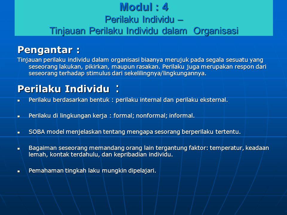 Modul : 4 Perilaku Individu – Tinjauan Perilaku Individu dalam Organisasi