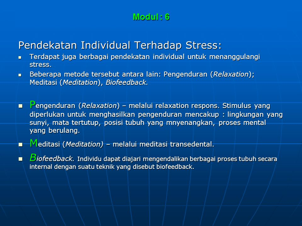 Pendekatan Individual Terhadap Stress: