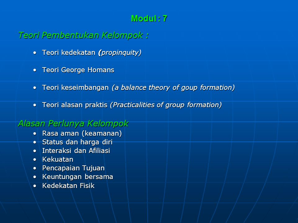Teori Pembentukan Kelompok :