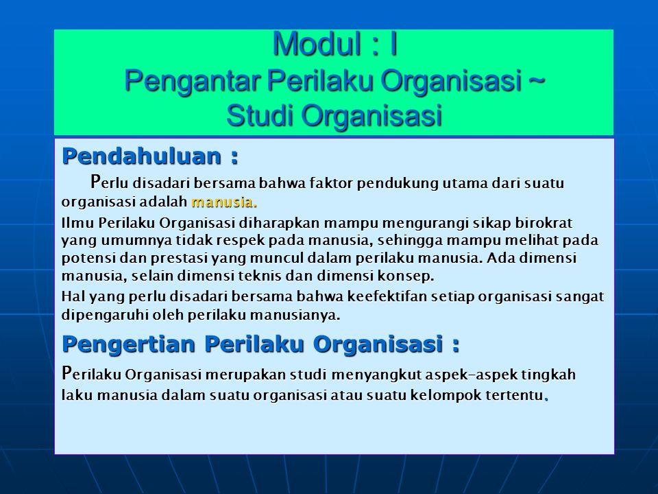 Modul : I Pengantar Perilaku Organisasi ~ Studi Organisasi