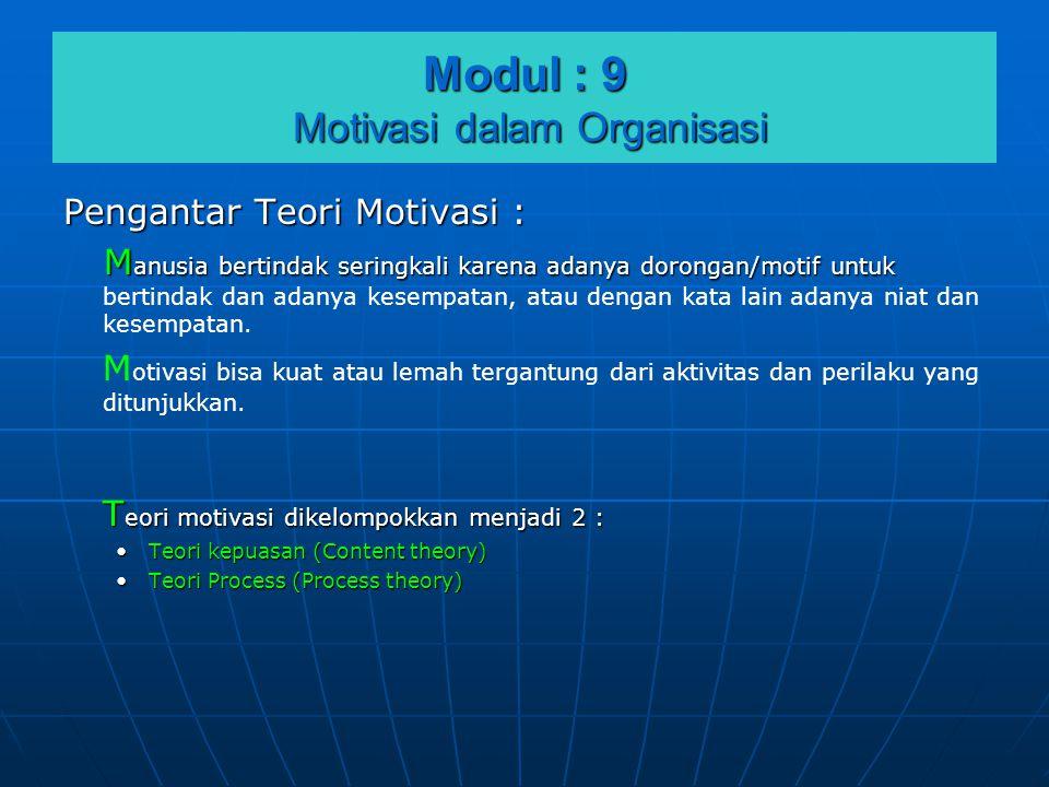 Modul : 9 Motivasi dalam Organisasi