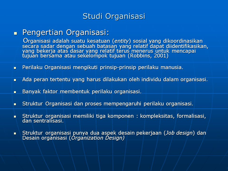 Pengertian Organisasi:
