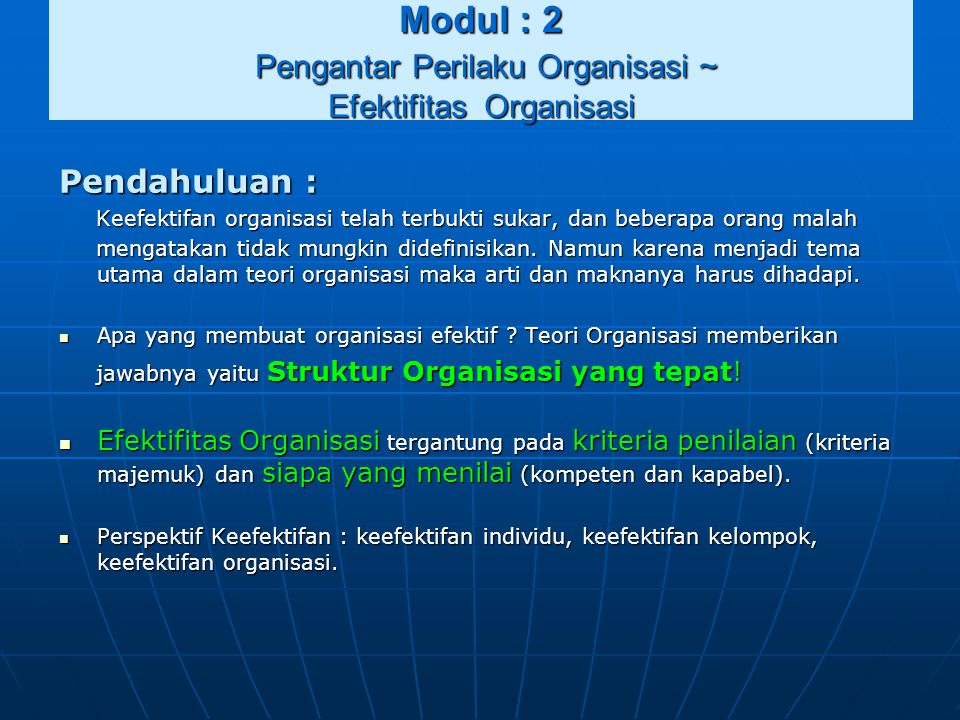 Modul : 2 Pengantar Perilaku Organisasi ~ Efektifitas Organisasi
