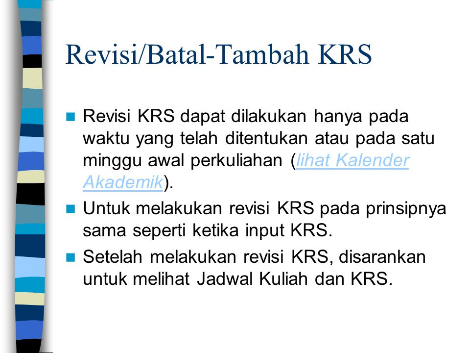 Revisi/Batal-Tambah KRS