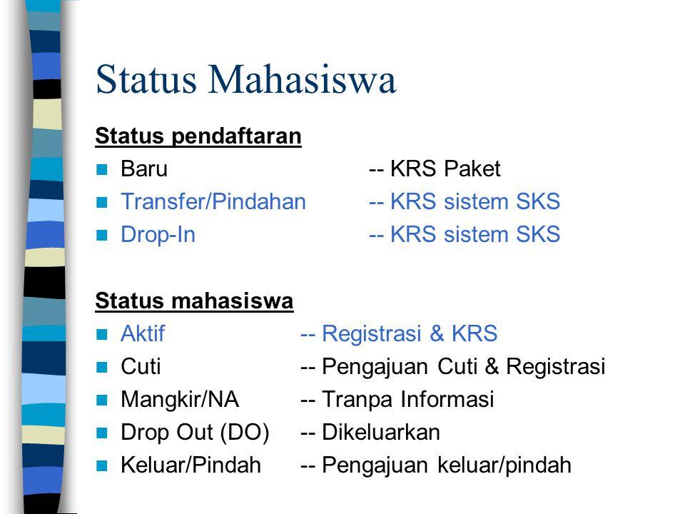 Status Mahasiswa Status pendaftaran Baru -- KRS Paket