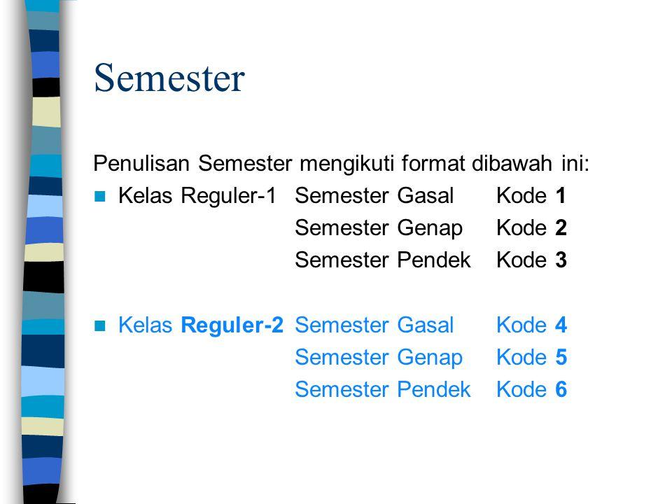 Semester Penulisan Semester mengikuti format dibawah ini: