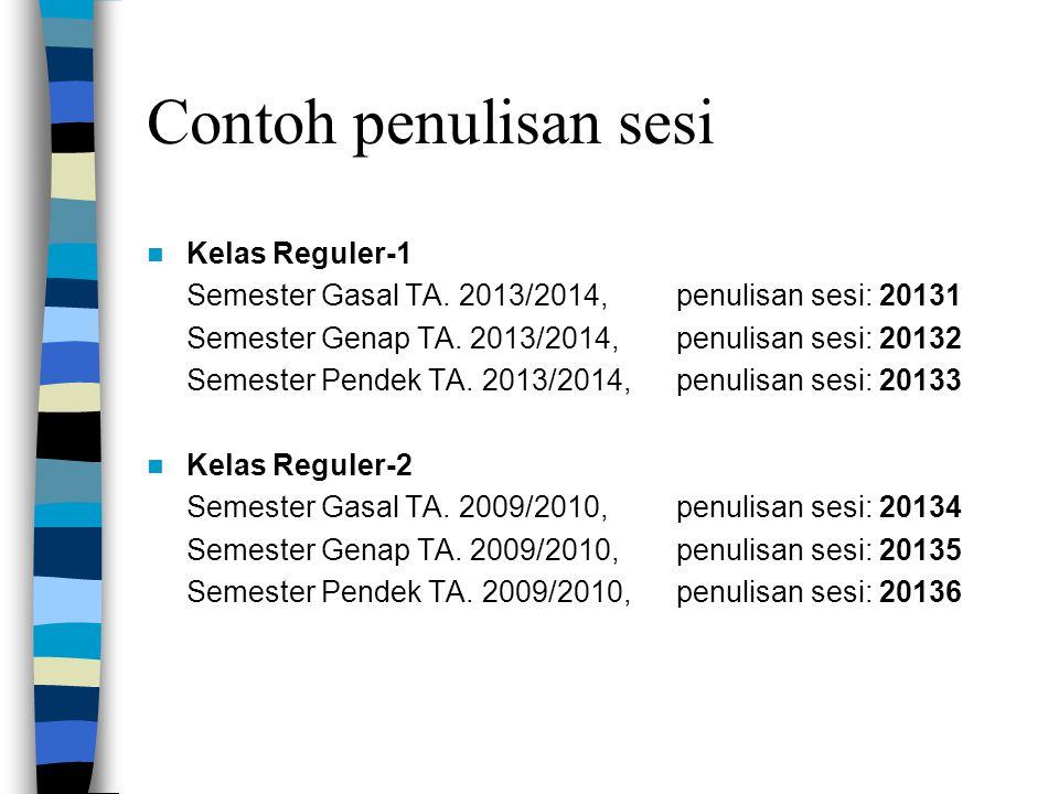 Contoh penulisan sesi Kelas Reguler-1