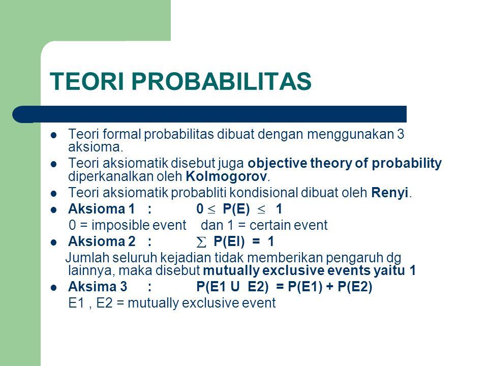 TEORI PROBABILITAS Teori formal probabilitas dibuat dengan menggunakan 3 aksioma.