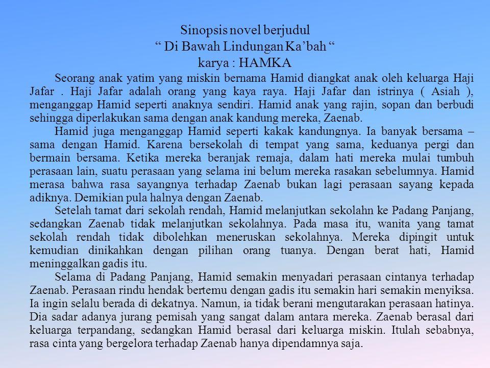 Sinopsis novel berjudul Di Bawah Lindungan Ka'bah karya : HAMKA