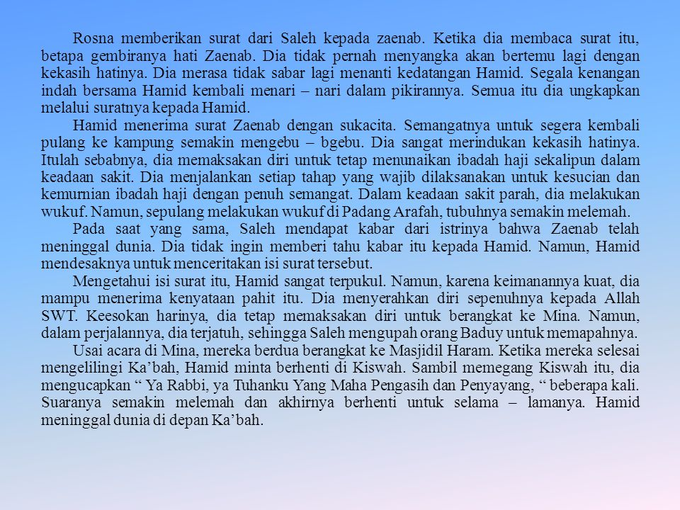 Rosna memberikan surat dari Saleh kepada zaenab