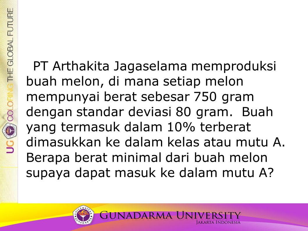 PT Arthakita Jagaselama memproduksi buah melon, di mana setiap melon mempunyai berat sebesar 750 gram dengan standar deviasi 80 gram.