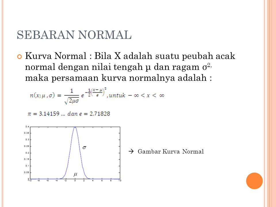 SEBARAN NORMAL Kurva Normal : Bila X adalah suatu peubah acak normal dengan nilai tengah μ dan ragam σ2, maka persamaan kurva normalnya adalah :