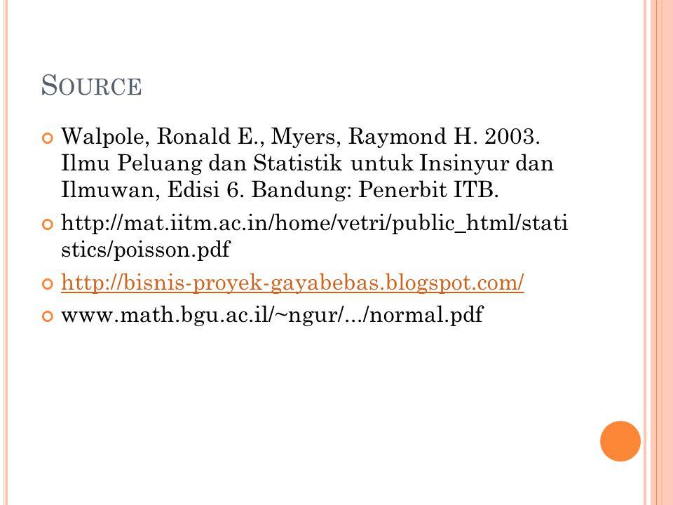 Source Walpole, Ronald E., Myers, Raymond H. 2003. Ilmu Peluang dan Statistik untuk Insinyur dan Ilmuwan, Edisi 6. Bandung: Penerbit ITB.
