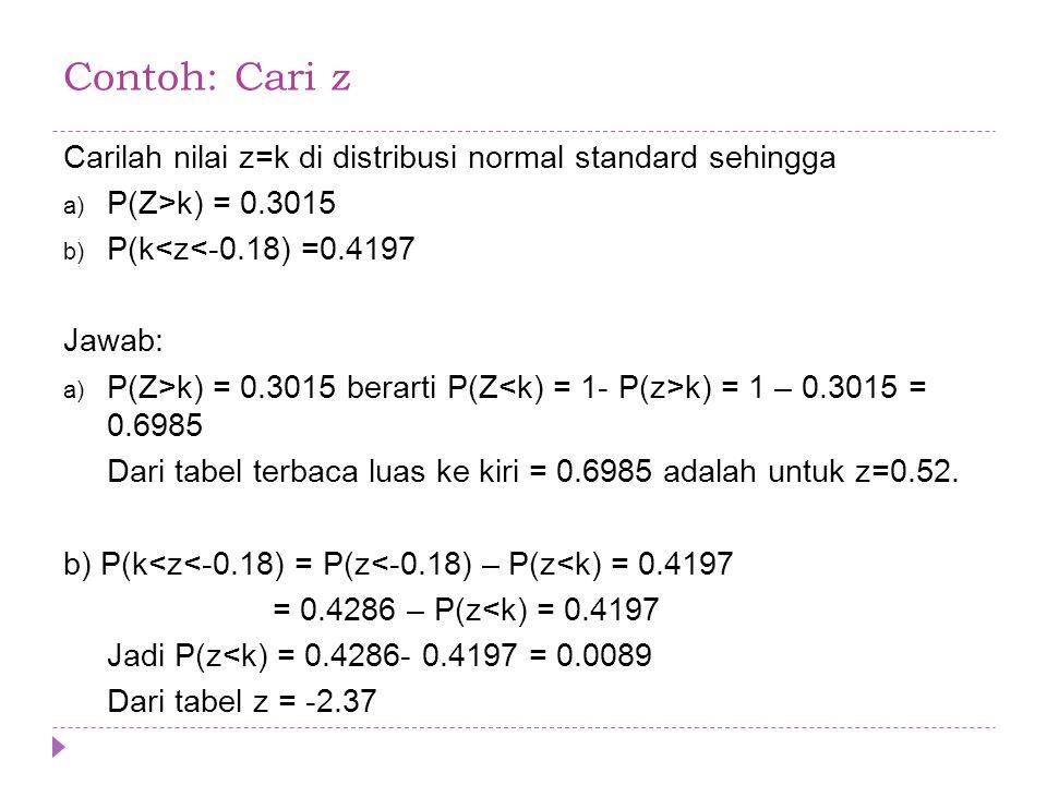 Contoh: Cari z Carilah nilai z=k di distribusi normal standard sehingga. P(Z>k) = 0.3015. P(k<z<-0.18) =0.4197.
