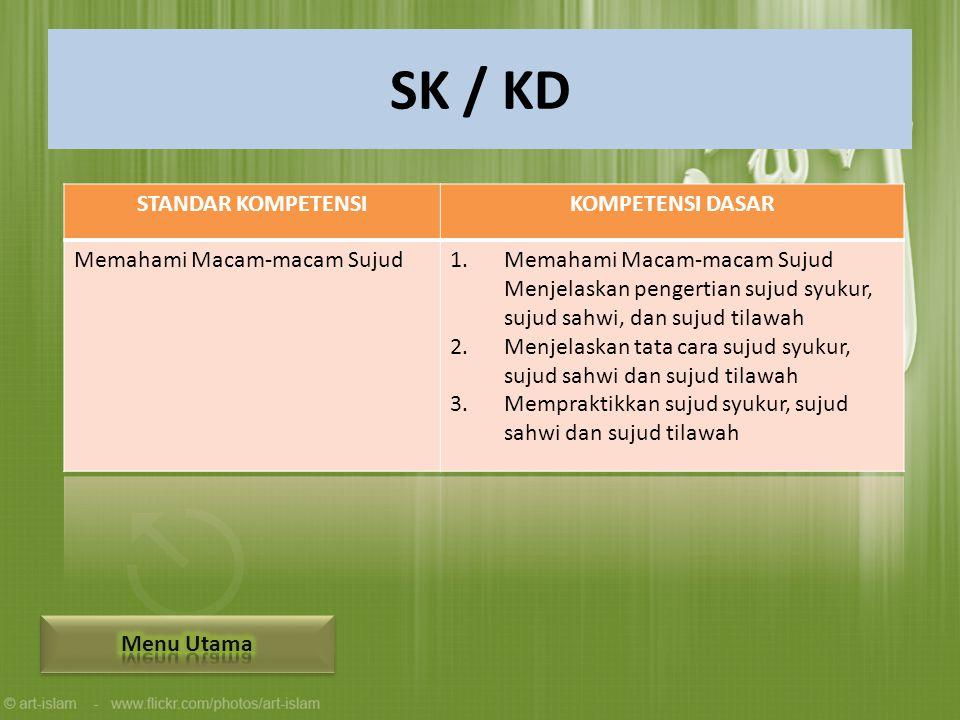 SK / KD STANDAR KOMPETENSI KOMPETENSI DASAR Memahami Macam-macam Sujud