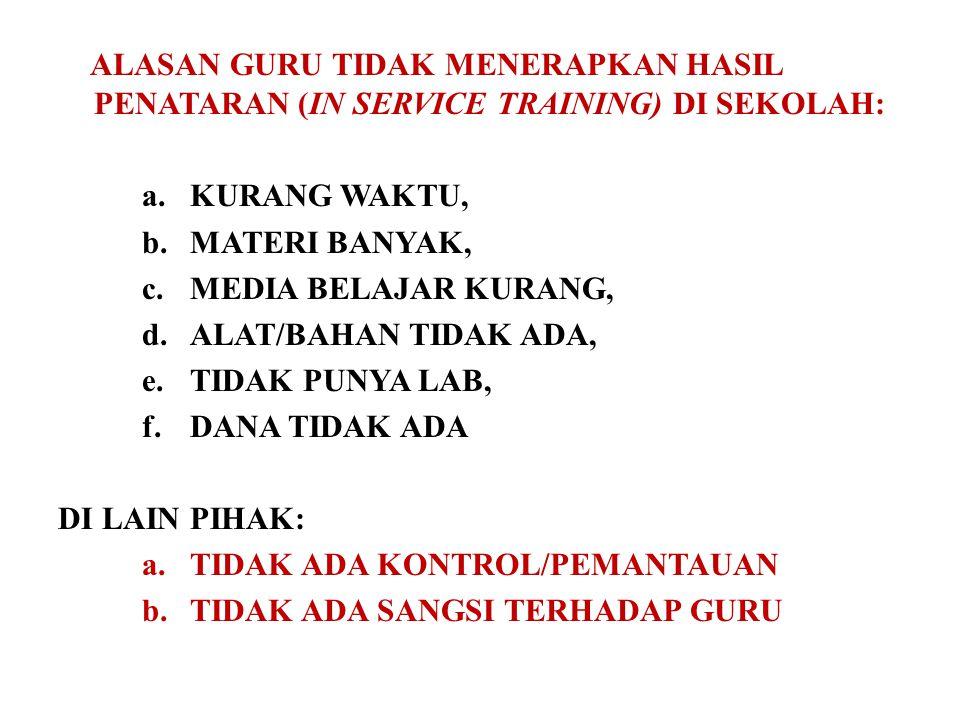 ALASAN GURU TIDAK MENERAPKAN HASIL PENATARAN (IN SERVICE TRAINING) DI SEKOLAH: