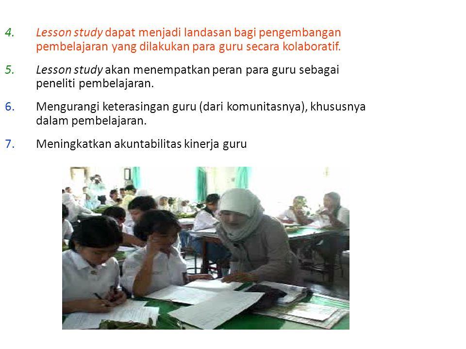 Lesson study dapat menjadi landasan bagi pengembangan pembelajaran yang dilakukan para guru secara kolaboratif.