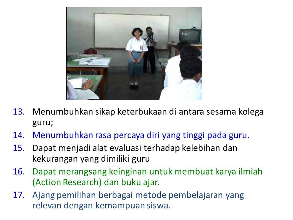 Menumbuhkan sikap keterbukaan di antara sesama kolega guru;