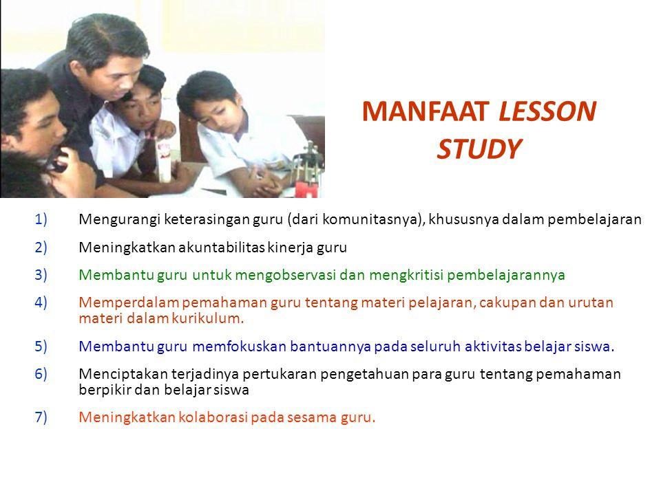 MANFAAT LESSON STUDY Mengurangi keterasingan guru (dari komunitasnya), khususnya dalam pembelajaran.
