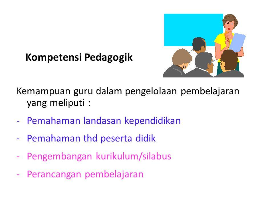 Kompetensi Pedagogik Kemampuan guru dalam pengelolaan pembelajaran yang meliputi : Pemahaman landasan kependidikan.