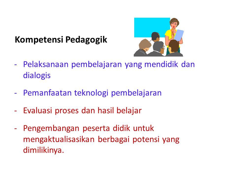 Kompetensi Pedagogik Pelaksanaan pembelajaran yang mendidik dan dialogis. Pemanfaatan teknologi pembelajaran.