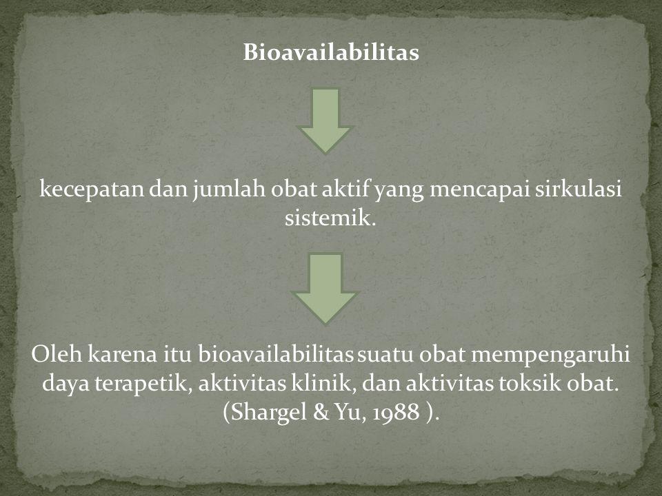 kecepatan dan jumlah obat aktif yang mencapai sirkulasi sistemik.