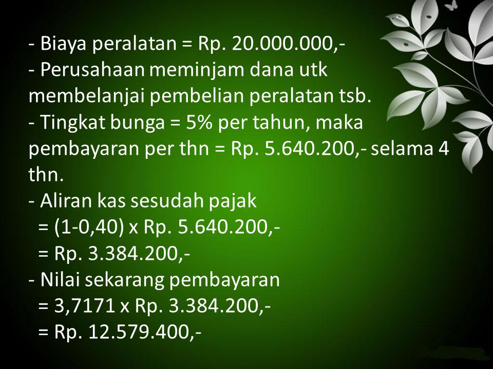 - Biaya peralatan = Rp.
