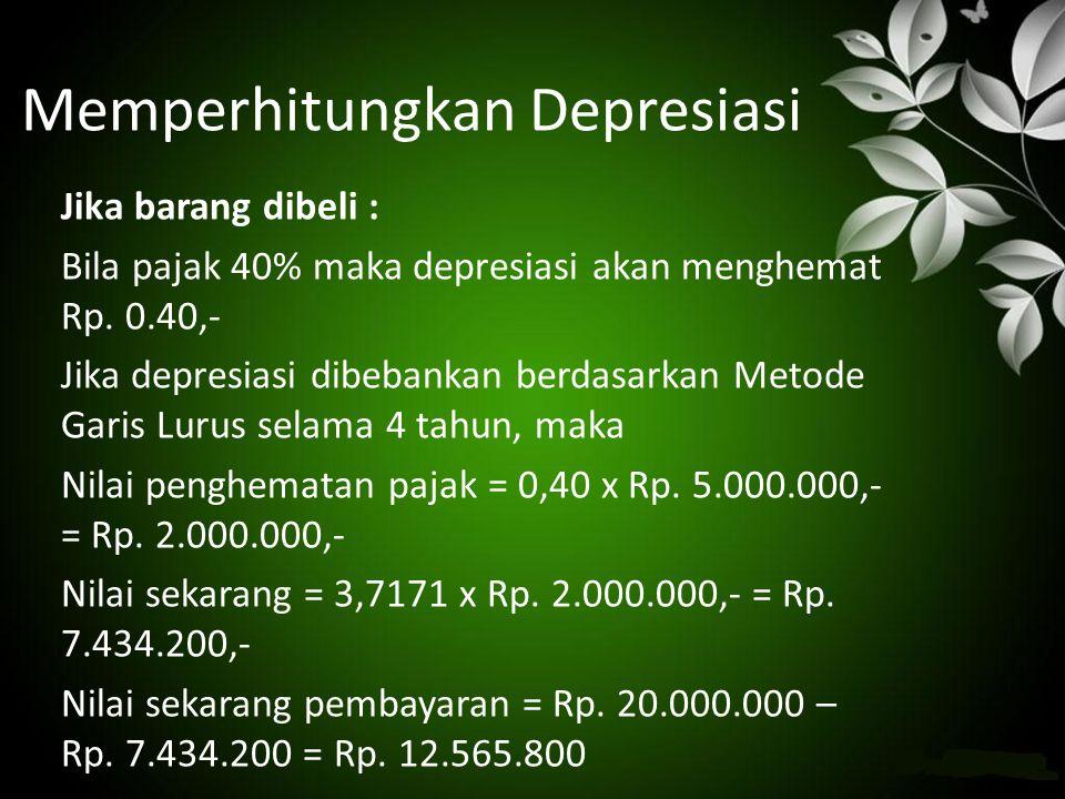 Memperhitungkan Depresiasi