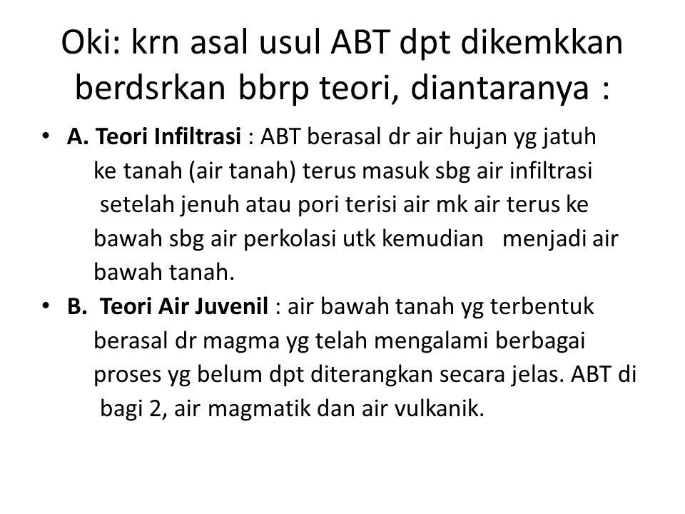 Oki: krn asal usul ABT dpt dikemkkan berdsrkan bbrp teori, diantaranya :