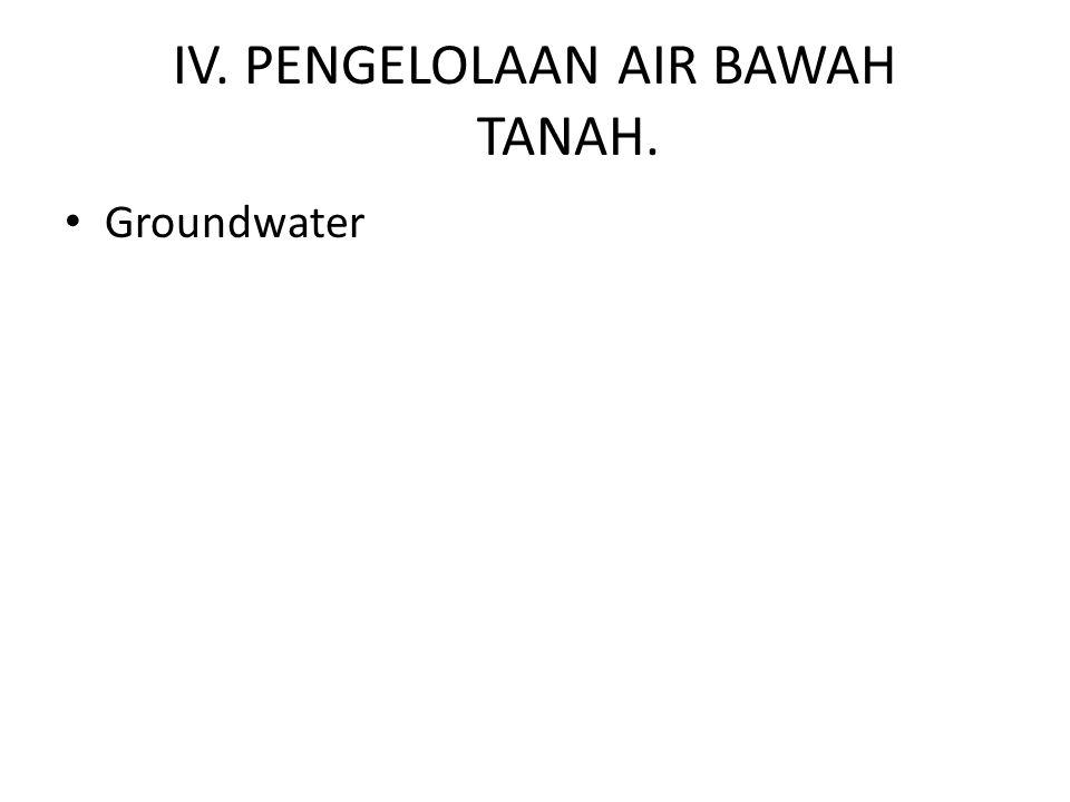 IV. PENGELOLAAN AIR BAWAH TANAH.