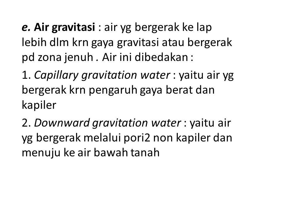 e. Air gravitasi : air yg bergerak ke lap lebih dlm krn gaya gravitasi atau bergerak pd zona jenuh . Air ini dibedakan :