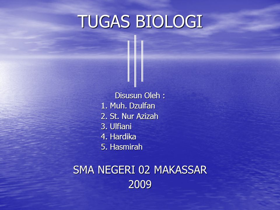TUGAS BIOLOGI SMA NEGERI 02 MAKASSAR 2009 Disusun Oleh :