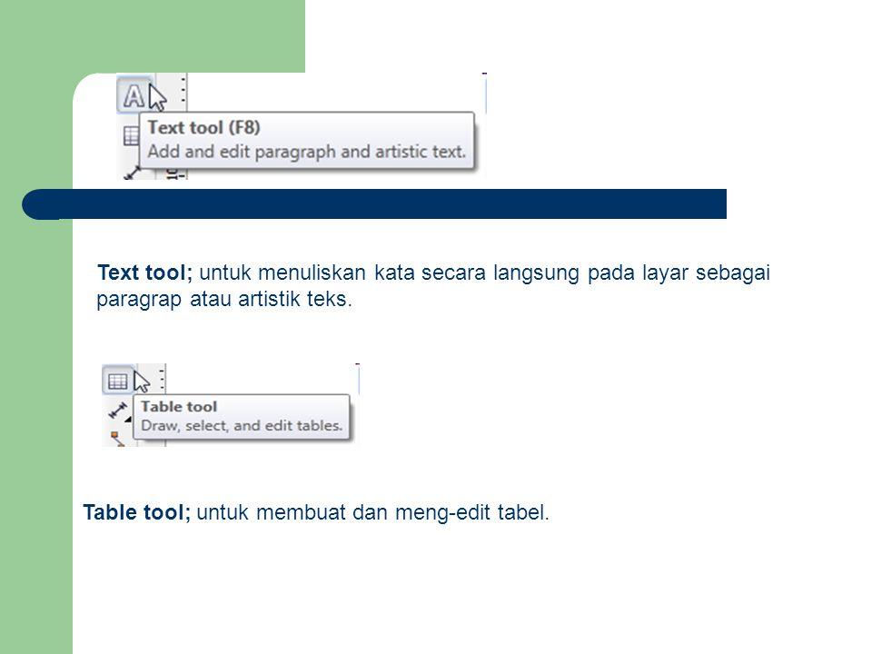 Text tool; untuk menuliskan kata secara langsung pada layar sebagai paragrap atau artistik teks.