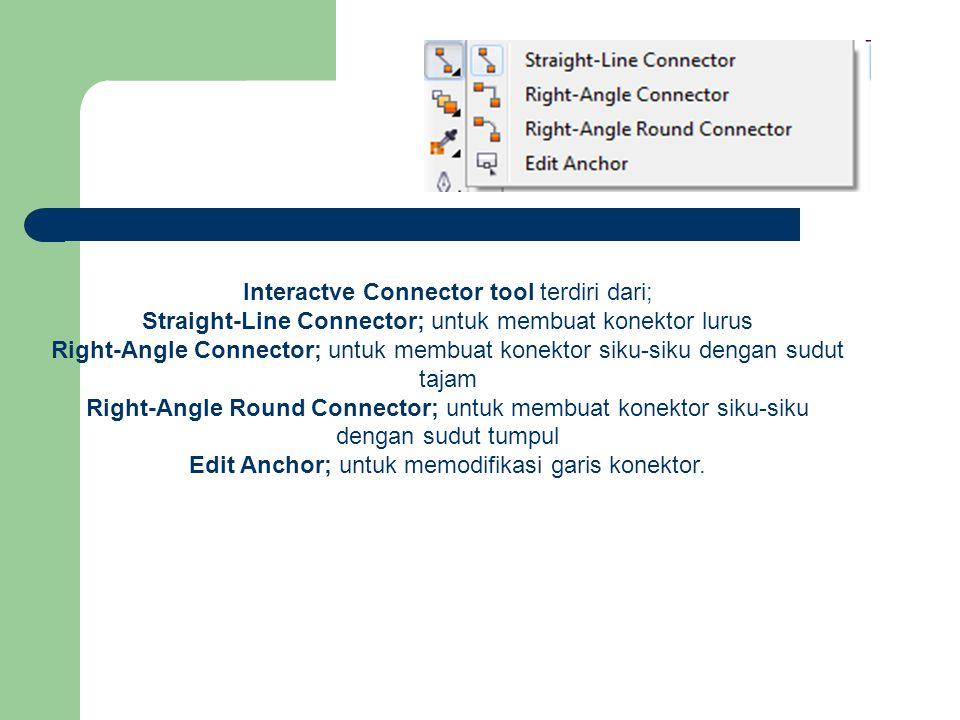 Interactve Connector tool terdiri dari; Straight-Line Connector; untuk membuat konektor lurus