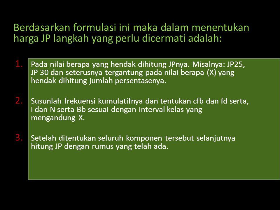 Berdasarkan formulasi ini maka dalam menentukan harga JP langkah yang perlu dicermati adalah: