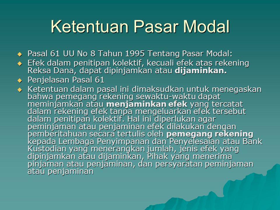 Ketentuan Pasar Modal Pasal 61 UU No 8 Tahun 1995 Tentang Pasar Modal: