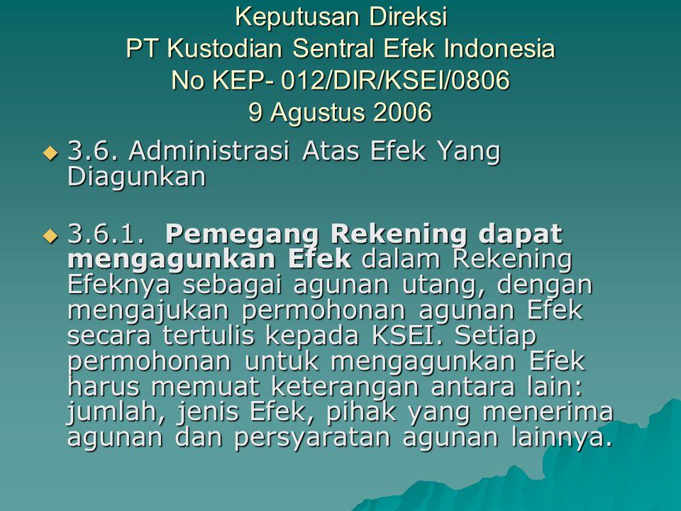 Keputusan Direksi PT Kustodian Sentral Efek Indonesia No KEP- 012/DIR/KSEI/0806 9 Agustus 2006