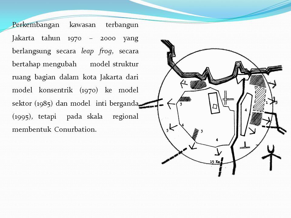 Perkembangan kawasan terbangun Jakarta tahun 1970 – 2000 yang berlangsung secara leap frog, secara bertahap mengubah model struktur ruang bagian dalam kota Jakarta dari model konsentrik (1970) ke model sektor (1985) dan model inti berganda (1995), tetapi pada skala regional membentuk Conurbation.