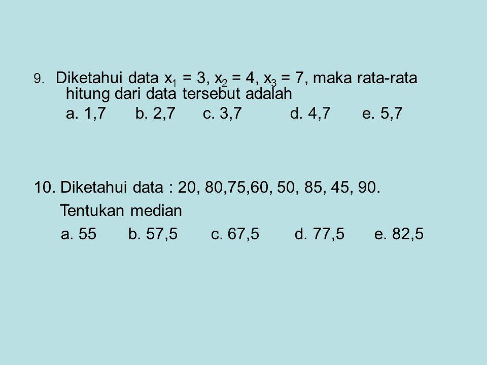 9. Diketahui data x1 = 3, x2 = 4, x3 = 7, maka rata-rata hitung dari data tersebut adalah