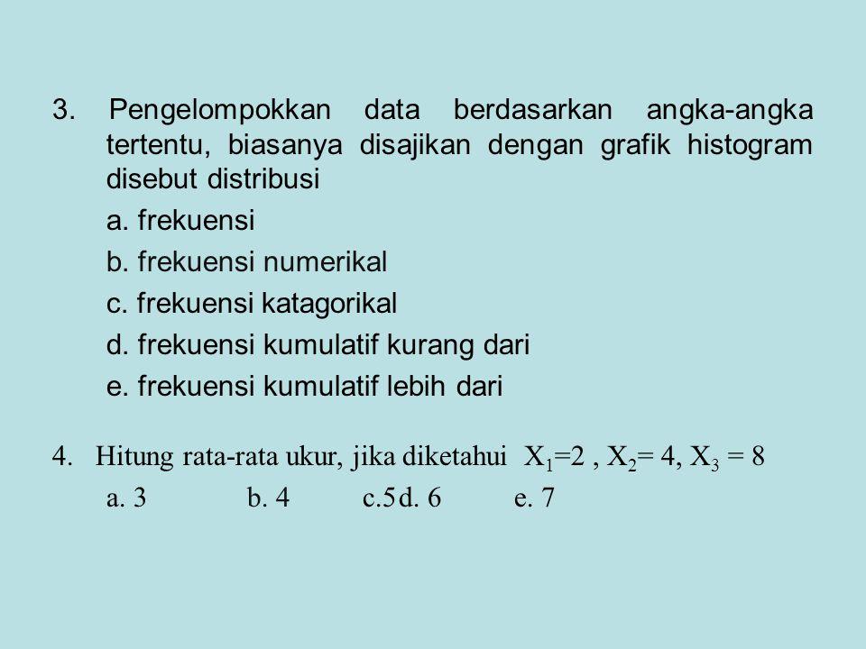 3. Pengelompokkan data berdasarkan angka-angka tertentu, biasanya disajikan dengan grafik histogram disebut distribusi