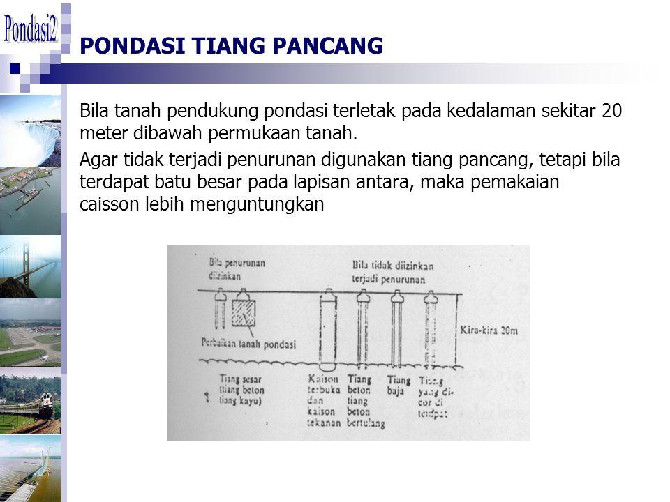 Pondasi2 PONDASI TIANG PANCANG. Bila tanah pendukung pondasi terletak pada kedalaman sekitar 20 meter dibawah permukaan tanah.