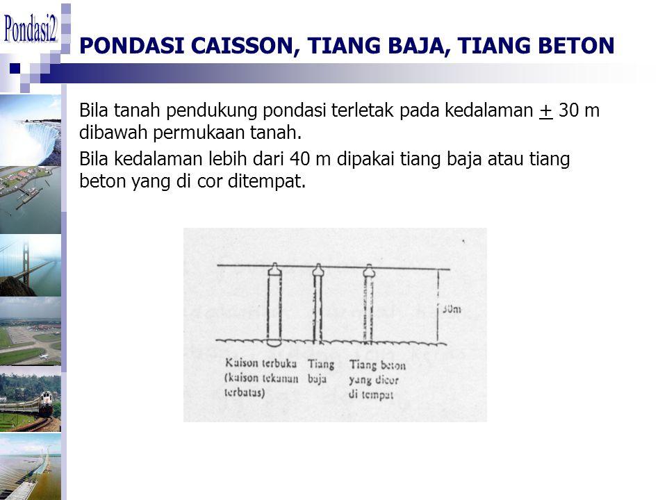 PONDASI CAISSON, TIANG BAJA, TIANG BETON